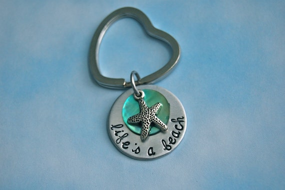 Life's a Beach, hand stamped shell stacked Keychain