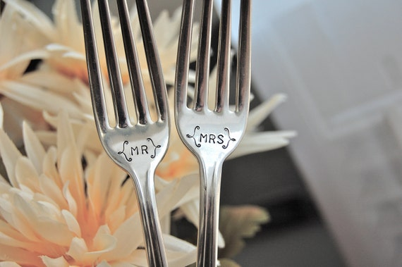 Mr. and Mrs. vintage wedding forks, hand stamped, pretty design