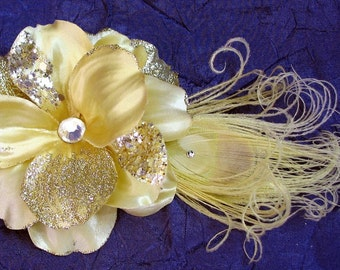Golden Champagne Ivory Satin Flower Hair Accessory with Swarovski Crystal Accents, Curled Ivory Peacock Feather