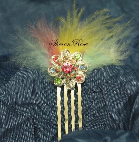 Pastel rainbow rhinestone flower pastel rainbow feather fan silver tone mini comb