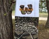 Personalized Embroidered Applique Camo Burp Cloth