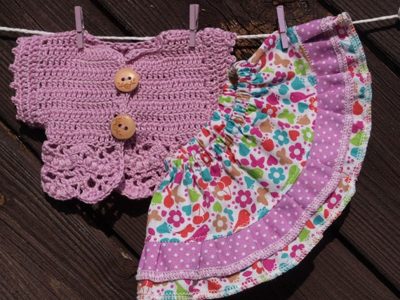 Waldorf Doll Clothes - Skirt and Lilac Cardigan,fit 10 inch dolls