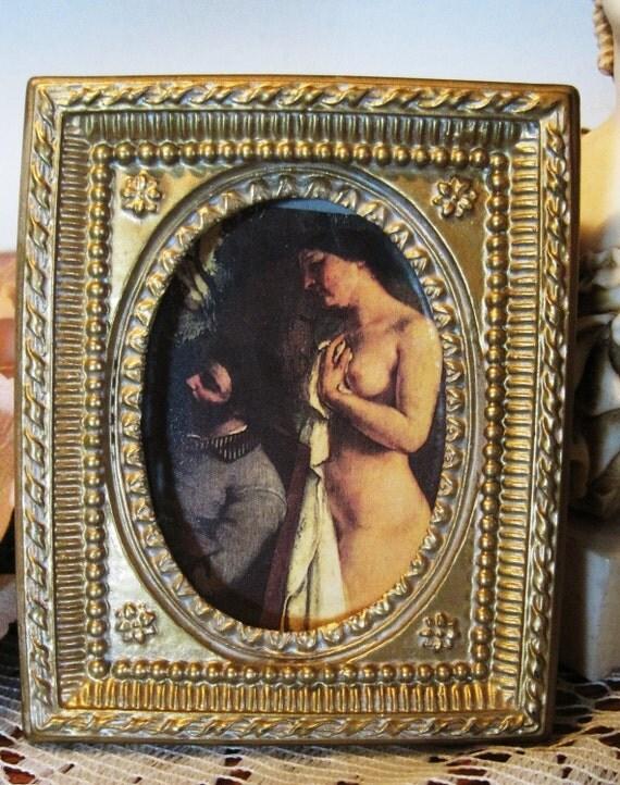 Use Code (15PERCENTOFF) Moving Sale Early Vintage Gold Gilt Metal or Chaulk Frame Square Oval Art Work Frame