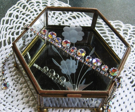 Moving Sale use code (15PERCENTOFF)Vintage Curiosity Jewelry Box Glass and Brass 6 sided Diamond Etched