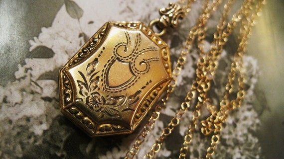 Victorian12KT Goldfilled Locket Repousee Beading with Diamond Etching Floral Design Crowned Bail