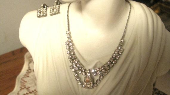1950s Silver White Rhinestoned Art Deco Demi Necklace Earring Set