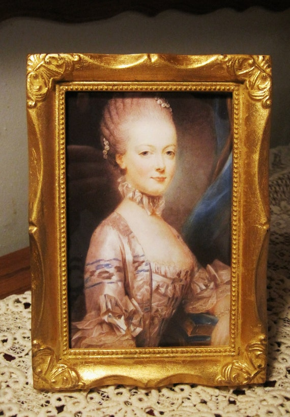 Vintage Gold Florentine Italian Wood Frame Digital Photo of Marie Antionette
