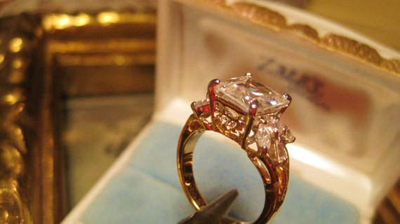 Reserved 4 Gongjoo Kim Reduced Vintage Engagement/Wedding Ring Pristine Goldplate Brilliant White Princess Cut CZ/ Small Baguettes/Marquise