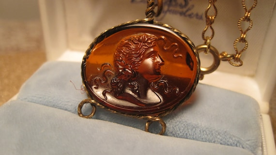 Antique Pendant/Necklace Amber Oval Fob Glass Cameo Bezel Set in a Twisted Brass Setting