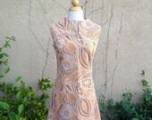 A vintage 1960s 1970s handmade orange and brown art deco geometric mod hippie sleeveless day shift dress size M