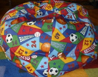 Sports Bean Bag Chair Cover, Green, Yellow, Blue, Red, Baseball, Soccer, Basketball and Football, Etsy Kids, Gifts Under 75