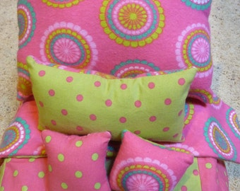 """18"""" American Doll Bedding - Pink and Green Polka Dot - Under 25"""
