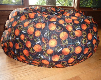 Basketball Bean Bag Chair Cover, Basketball Hoops, Orange and Black