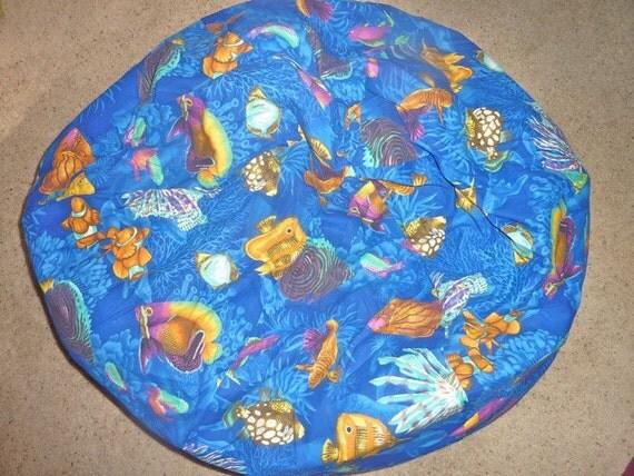 Tropical Fish Bean Bag Chair Cover Blue Yellow Orange