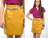 Vintage 80s LEATHER Fitted Mini Skirt sz M
