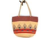 Vintage Ethnic Print Jute Woven Bag