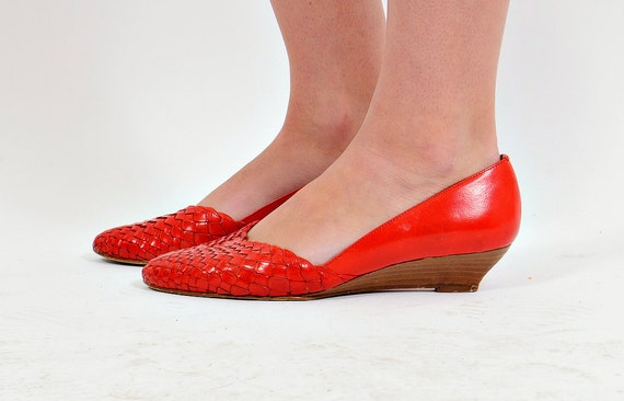 VIntage WOVEN Skimmers Wedges 8