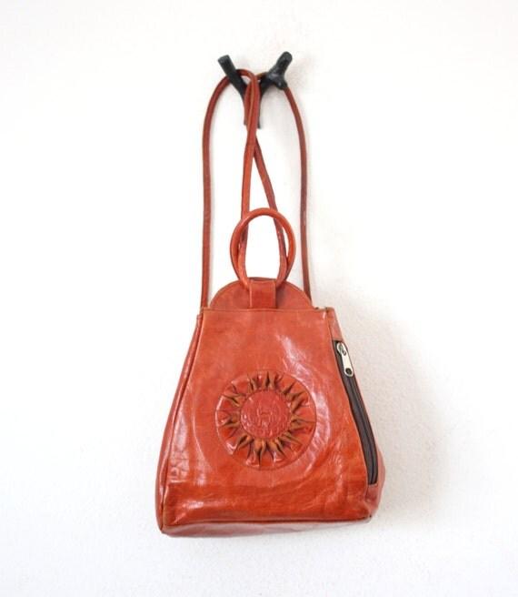Vintage Leather Ethnic Sun Dial Rucksack
