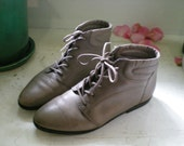 vintage GREY leather ankle boots 7.5