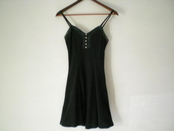 vintage 90's black ribbed GRUNGE skater girl dress with lace / crochet trim