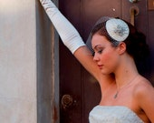 Birdcage veil and vintage style headpiece in pleated silk. white, ivory, cream, champagne,pink or black