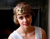 1910 style Bridal Headdress, Art Nouveau Tiara, crown, in Old Gold, black and plum.Downton Abbey