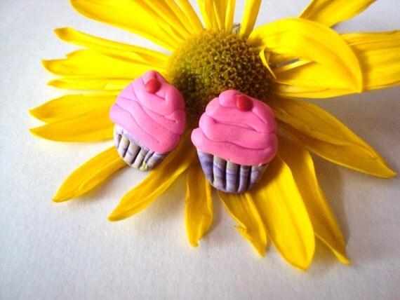 Pink Cupcake Earrings