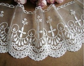 Export Japan 13.5cm large vintage embroidered white lace trim --- Roma impression