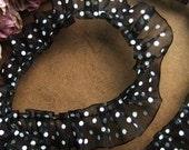 2.5cm lolita black and white dot elastic tulle lace trim --- 101 dog