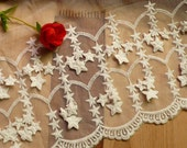 20cm white lace trim -- little star
