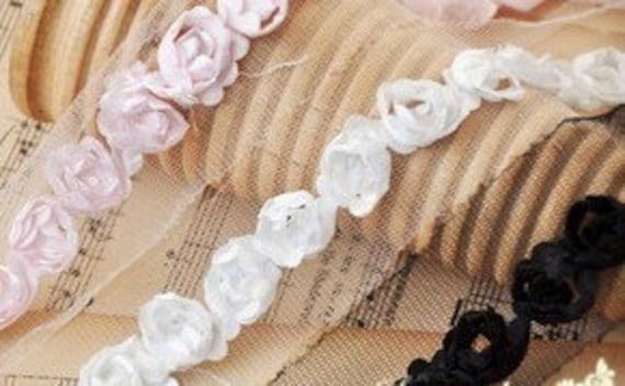 Black Pink 3D rose lace trim