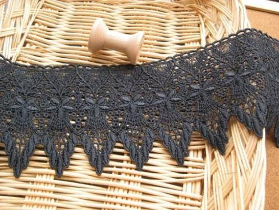 9cm victorian iron grey lace trim