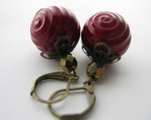 1/2 OFF Merlot and Roses Earrings - Deep Red Vintage Lucite Bronze Faceted Czech Glass Antique Brass