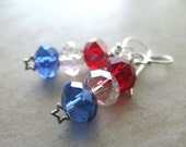 Star Spangled Earrings - Sparkly Faceted Ruby Red Crystal AB & Blue Glass Rondelles Sterling Silver