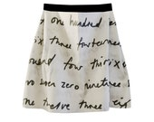 Cursive letter writing fabric mini skirt with elastic band