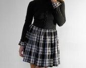 School Girl Black and White Plaid Dress with Puff Skirt - 1980
