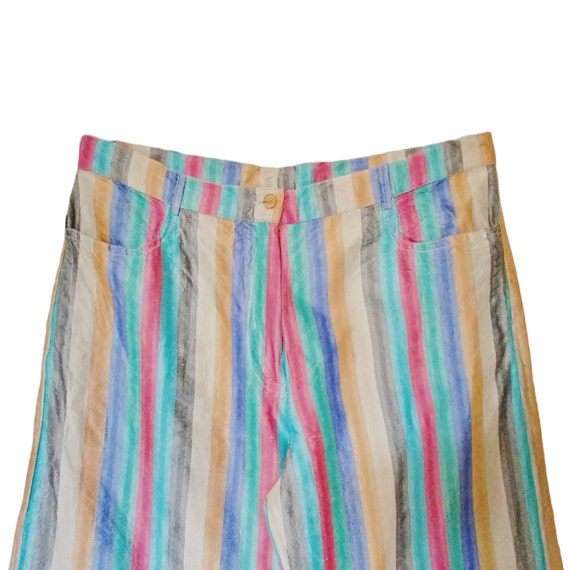Rainbow striped silk pants - multicolor stripes