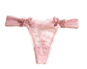 Lotti  Boudoir Petal Pink Lace Thong and  Swarovski crystals satin bows - Size SMALL