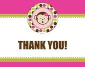 Printable Thank You Card - Mod Monkey Collection