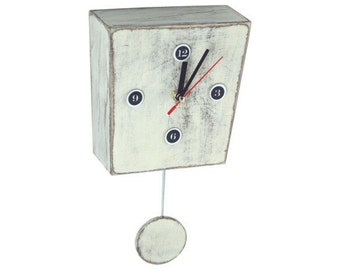 FREE SHIPPING - Pendulum clock, Wall clock with pendulum, White clock, wall decor clock, Wall hanging clock
