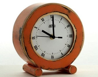 FREE SHIPPING - Desk CLOCK, Orange Circle clock, Wooden Clock, Table Clock, Tangerine, Unique gift, Distressed clock, Mantel clock, Rusty