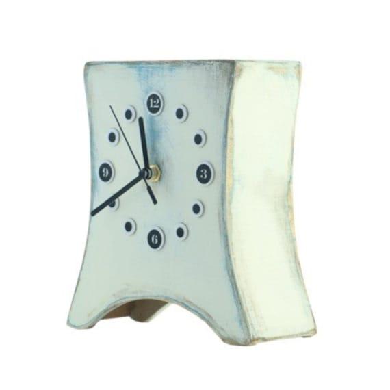 FREE SHIPPING - Desk Clock , Table clock White, Wooden clock, Unique gift, White Clock, Distressed clock, Mantel clock,Back to school