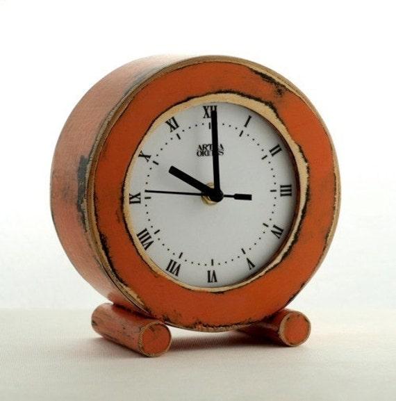 Desk Clock Orange, Circle clock, Wooden Clock, Table Clock, Tangerine, Unique gift, Distressed clock, Mantel clock, Rusty, gift for Mother