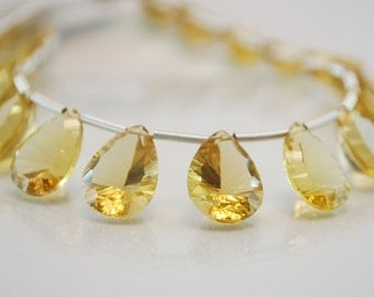 Warm Honey Quartz Gemstone Beads Golden Concave Cut Large Focals Faceted AAA Briolettes 12.5 to 13mm Set of 5