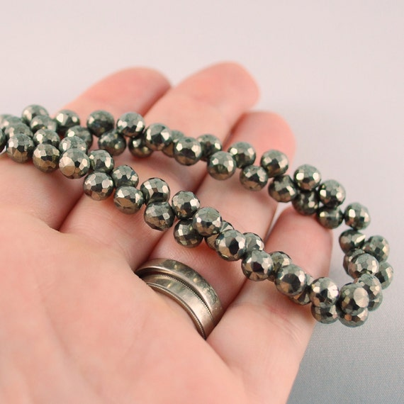 Pyrite Onion Cut AAA Gemstone Bead Faceted Semiprecious Stone Small Candy Kiss 5.5-6mm 3 1/2 inch strand