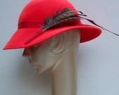 1950's  Wool Hat with Feathers