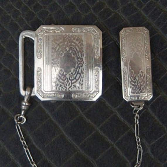1923 Etched Silver Belt Buckle with Keeper and Chain