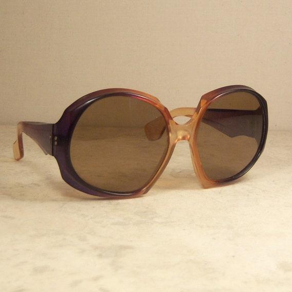 1970's Sunglasses Oversized Amber Frame France