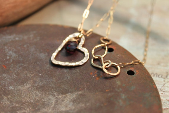 Gold Garnet Heart Necklace