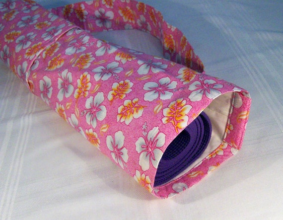 Yoga Mat Carrier - Pink Tropical Flowers